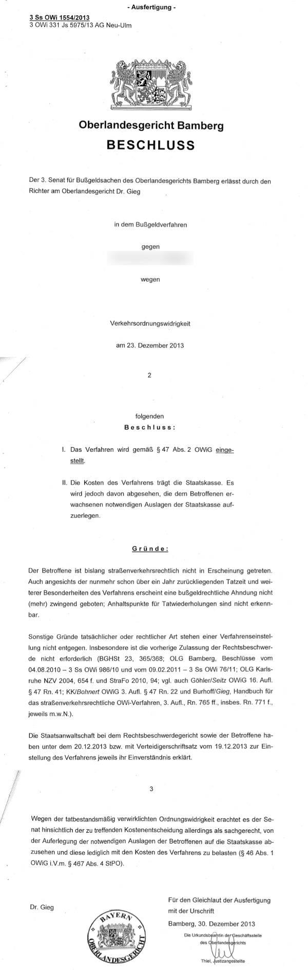 Entscheidung OLG Bamberg