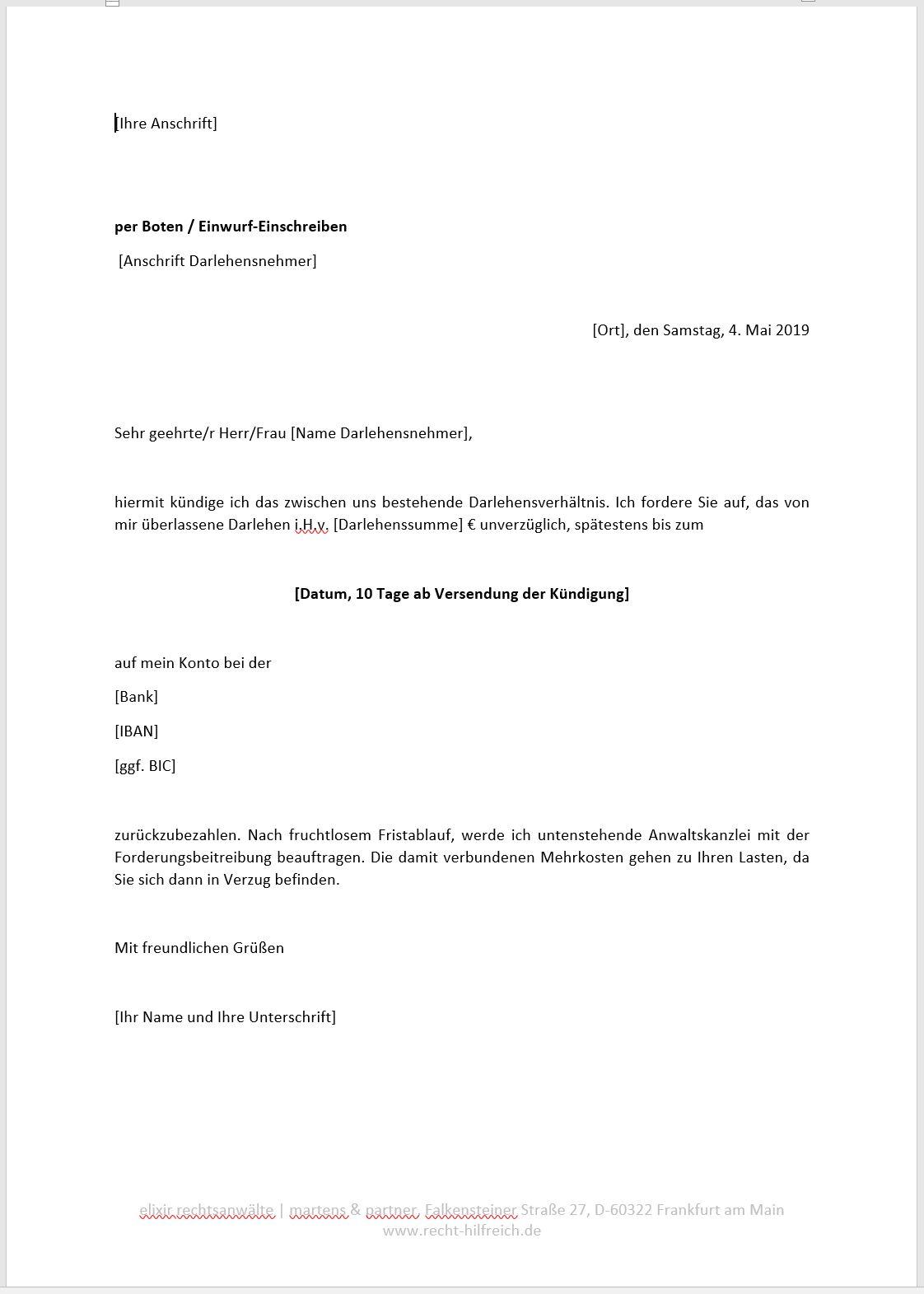 Vorlage Darlehensvertrag Vorlagen Vertrag Arbeitszeugnis